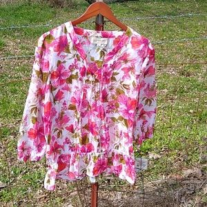 Jones New York flowy Shir top size xl cottage Core